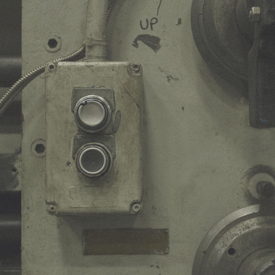Detail of drill machine controls