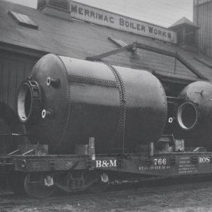 Historical shot of old train outside Merrimac Boiler Works.